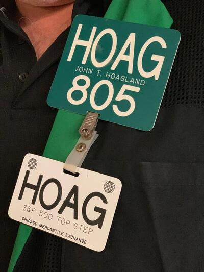 John Hoagland's trader identification tag