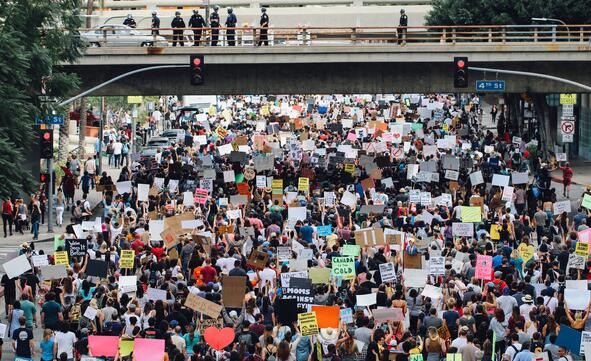 Large group of protesters