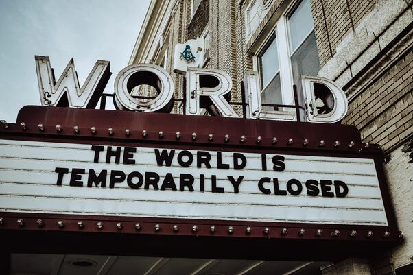 """""""The World is Temporarily Closed"""" on Theater Marquis"""